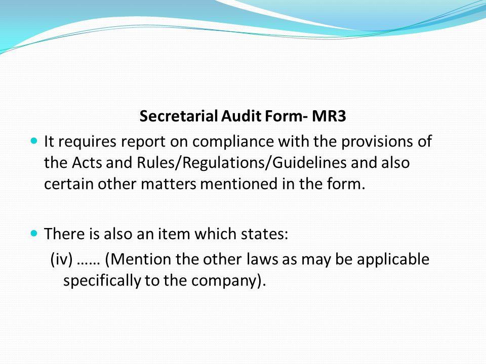 Secretarial Audit Form- MR3