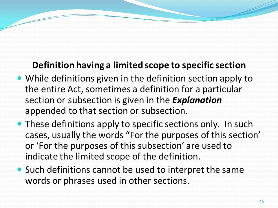Definition having a limited scope to specific section