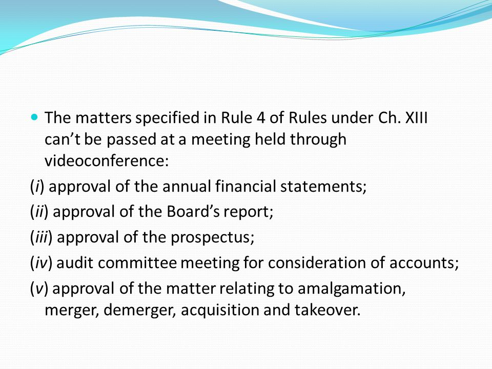 The matters specified in Rule 4 of Rules under Ch