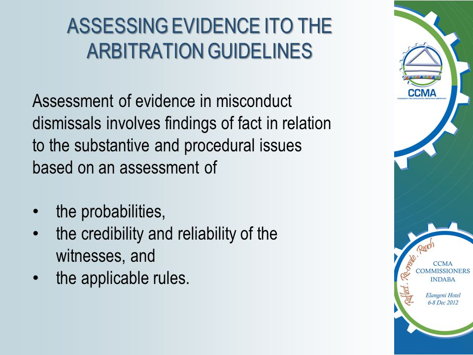 ASSESSING EVIDENCE ITO THE ARBITRATION GUIDELINES