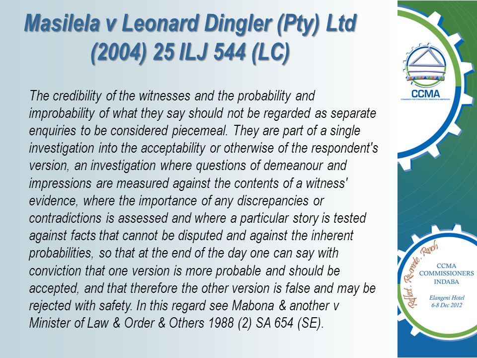 Masilela v Leonard Dingler (Pty) Ltd (2004) 25 ILJ 544 (LC)