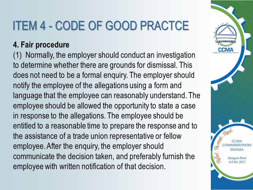 ITEM 4 - CODE OF GOOD PRACTCE