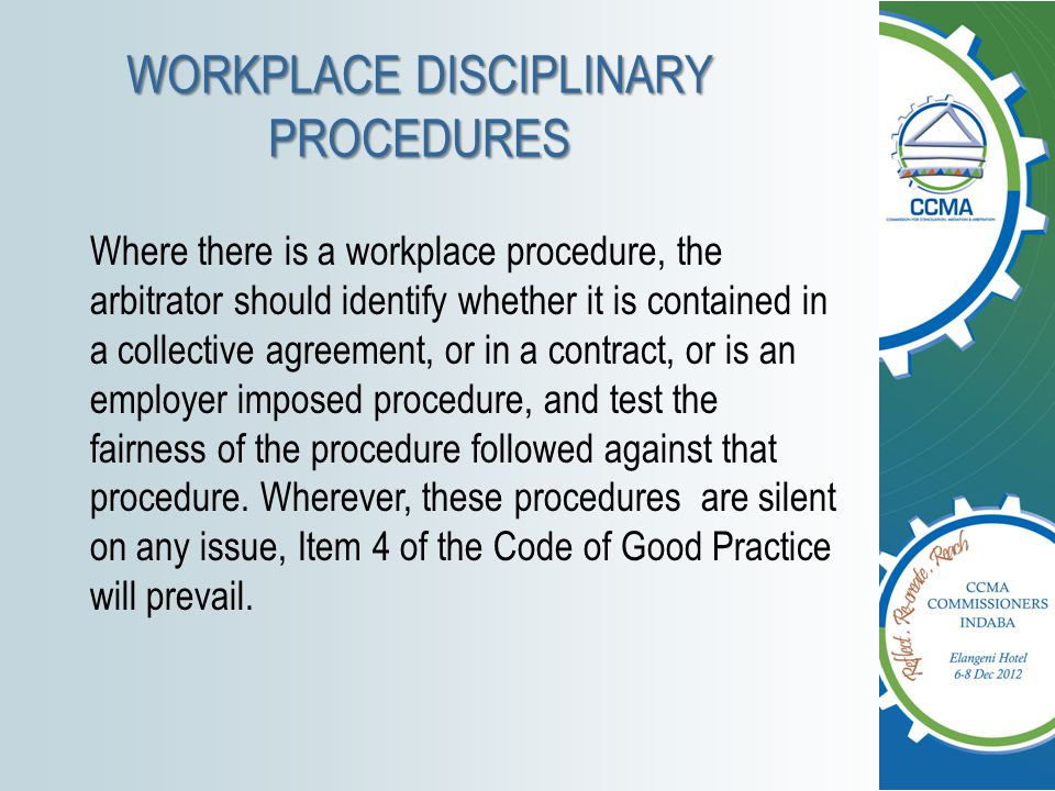 WORKPLACE DISCIPLINARY PROCEDURES