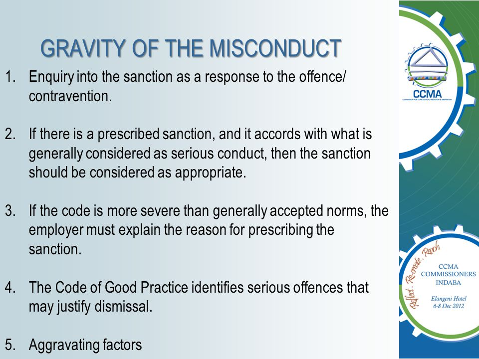 GRAVITY OF THE MISCONDUCT