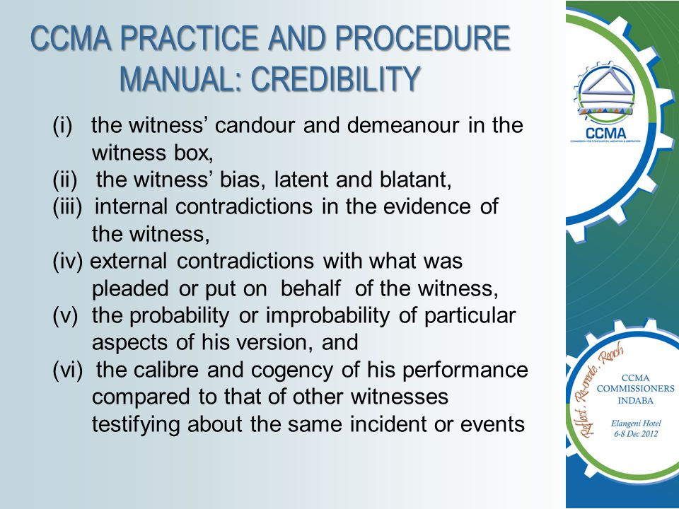 CCMA PRACTICE AND PROCEDURE MANUAL: CREDIBILITY