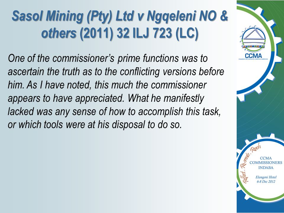 Sasol Mining (Pty) Ltd v Ngqeleni NO & others (2011) 32 ILJ 723 (LC)