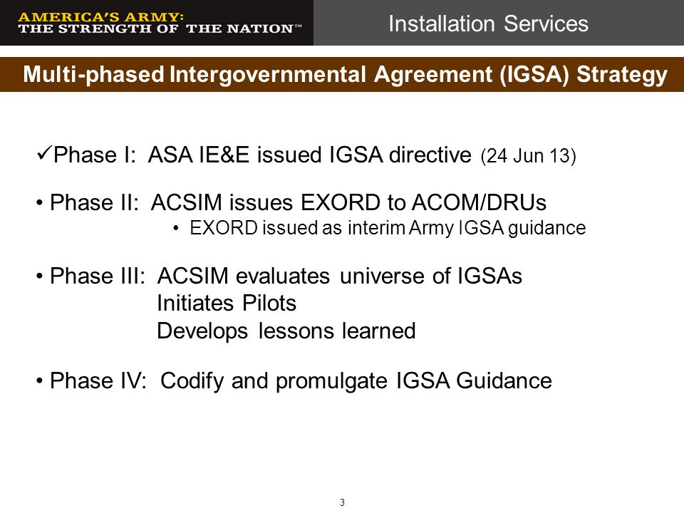 Multi-phased Intergovernmental Agreement (IGSA) Strategy