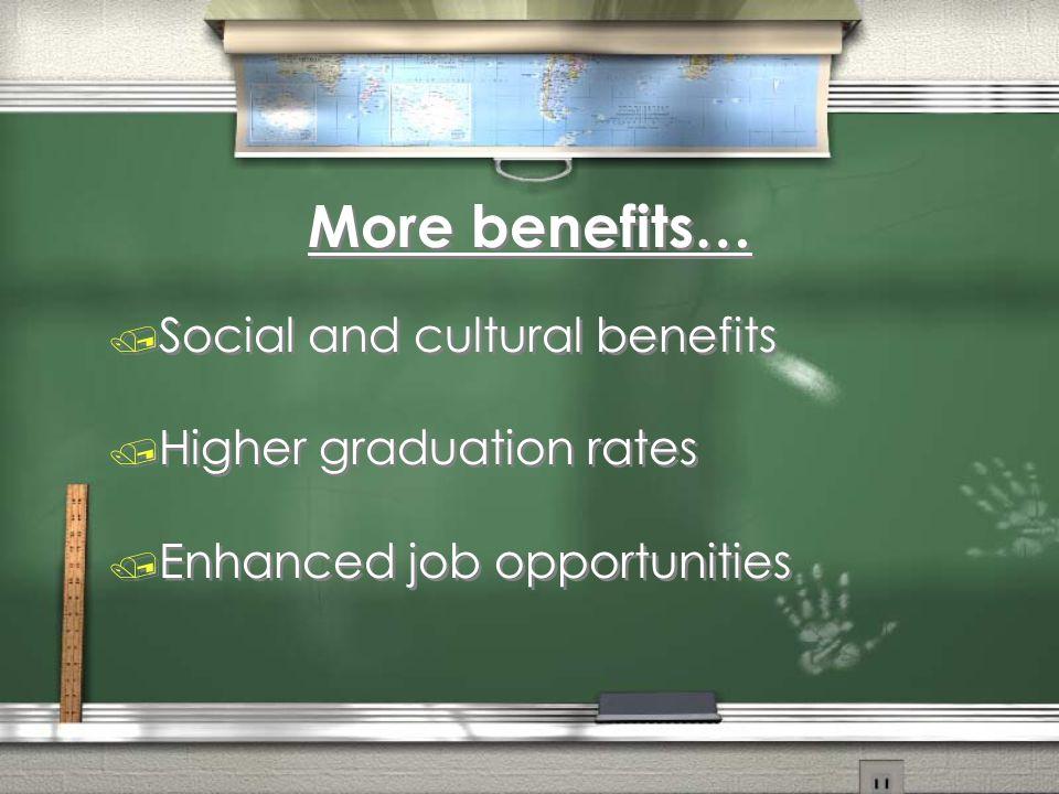 More benefits… Social and cultural benefits Higher graduation rates