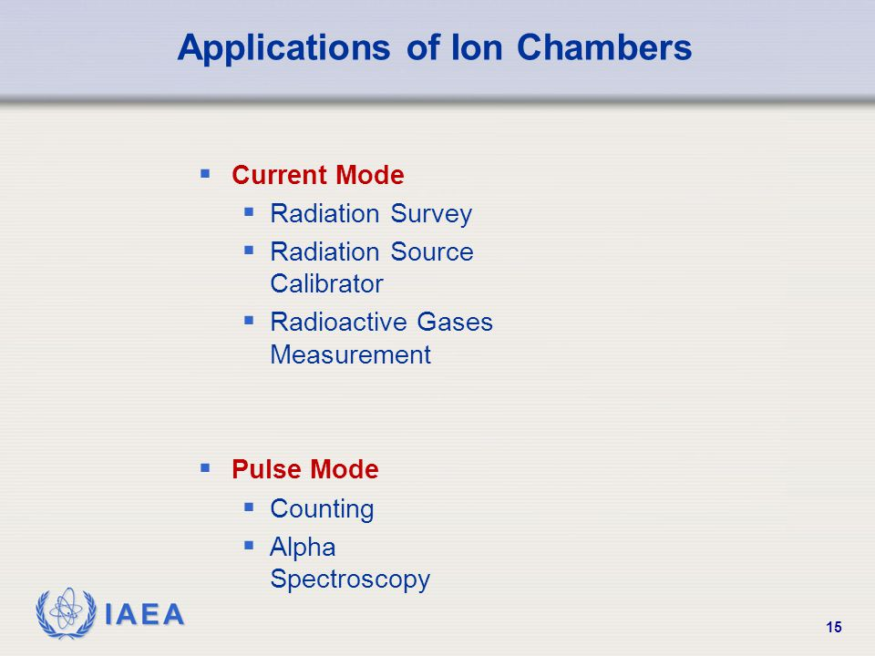 Applications of Ion Chambers