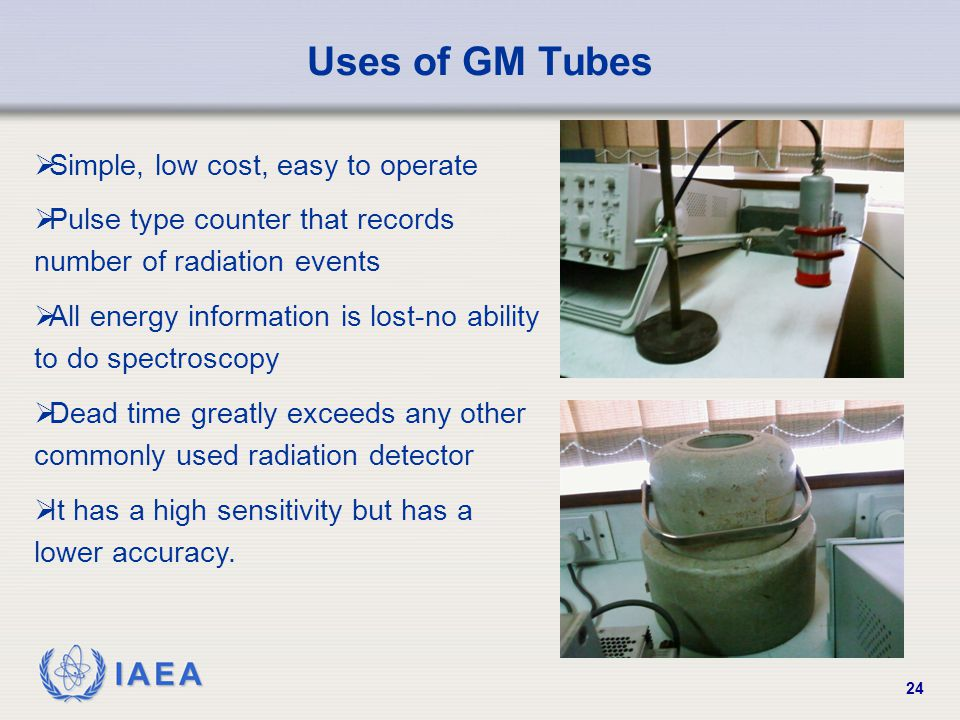 Uses of GM Tubes Simple, low cost, easy to operate