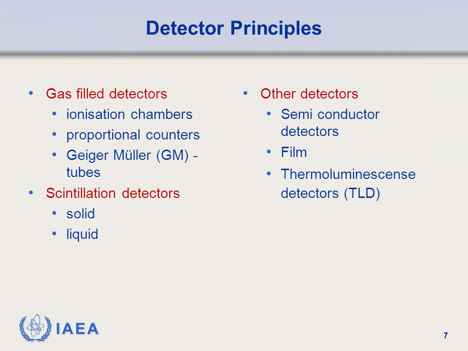 Detector Principles Gas filled detectors ionisation chambers