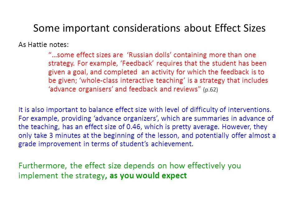 Some important considerations about Effect Sizes