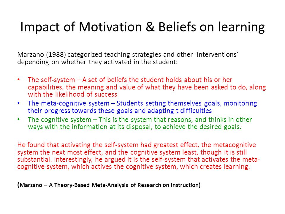 Impact of Motivation & Beliefs on learning