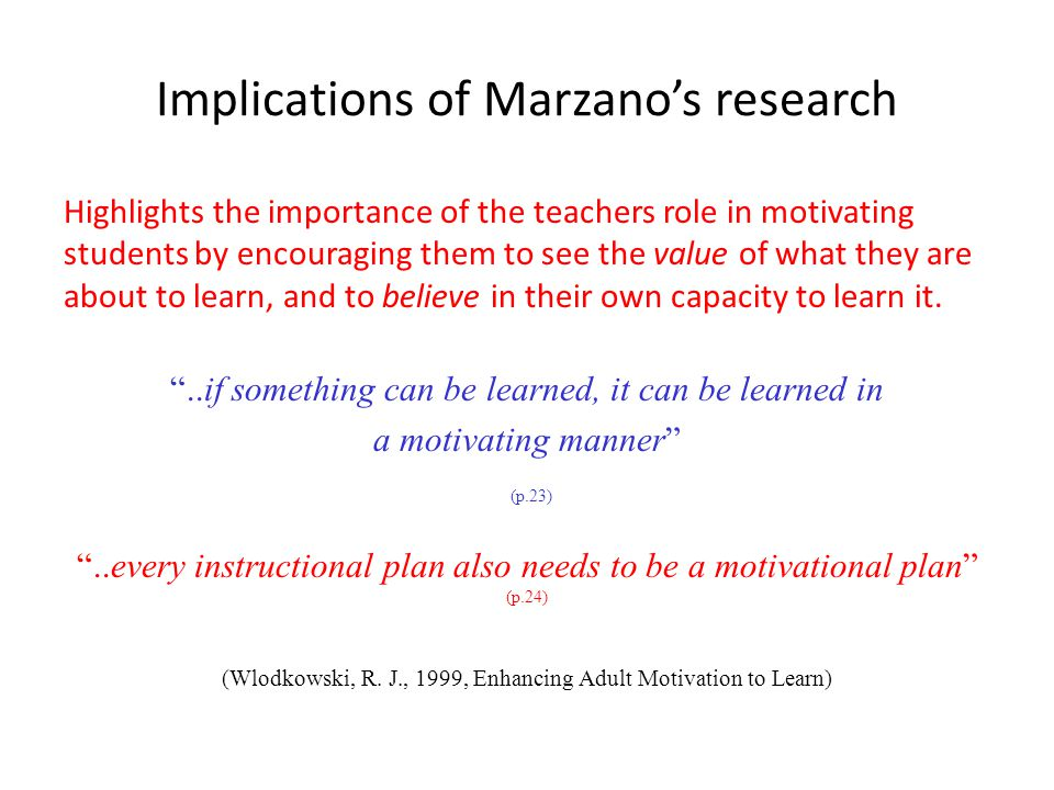 Implications of Marzano's research