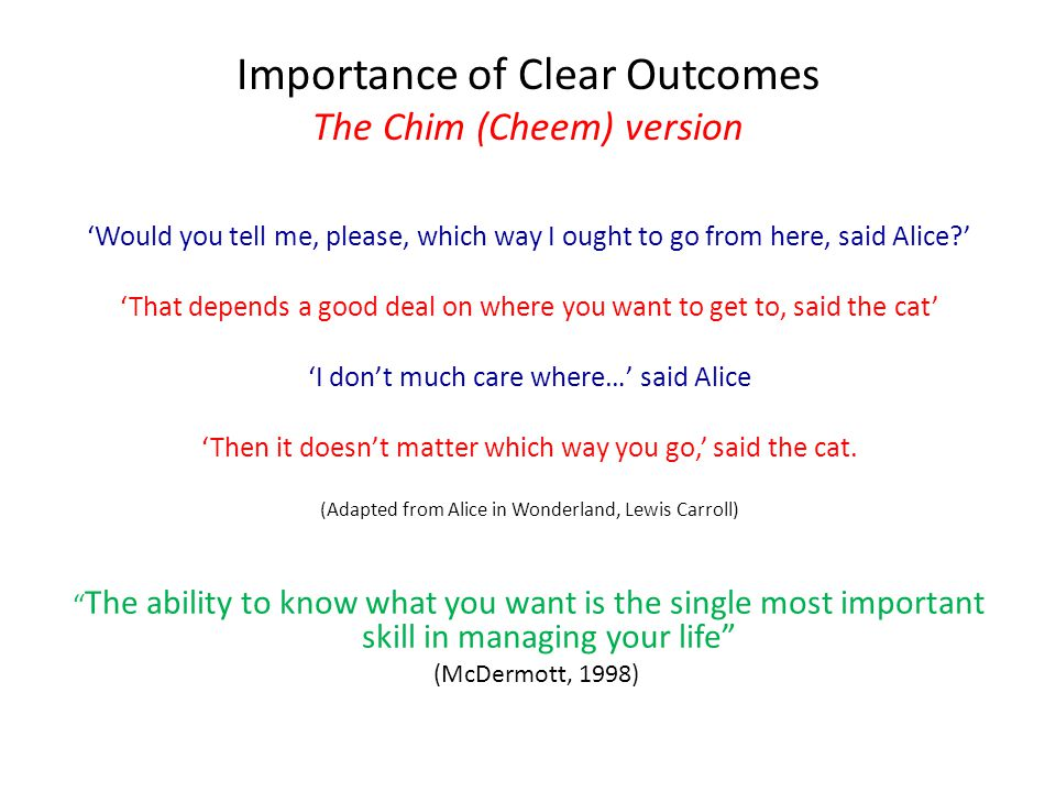 Importance of Clear Outcomes The Chim (Cheem) version