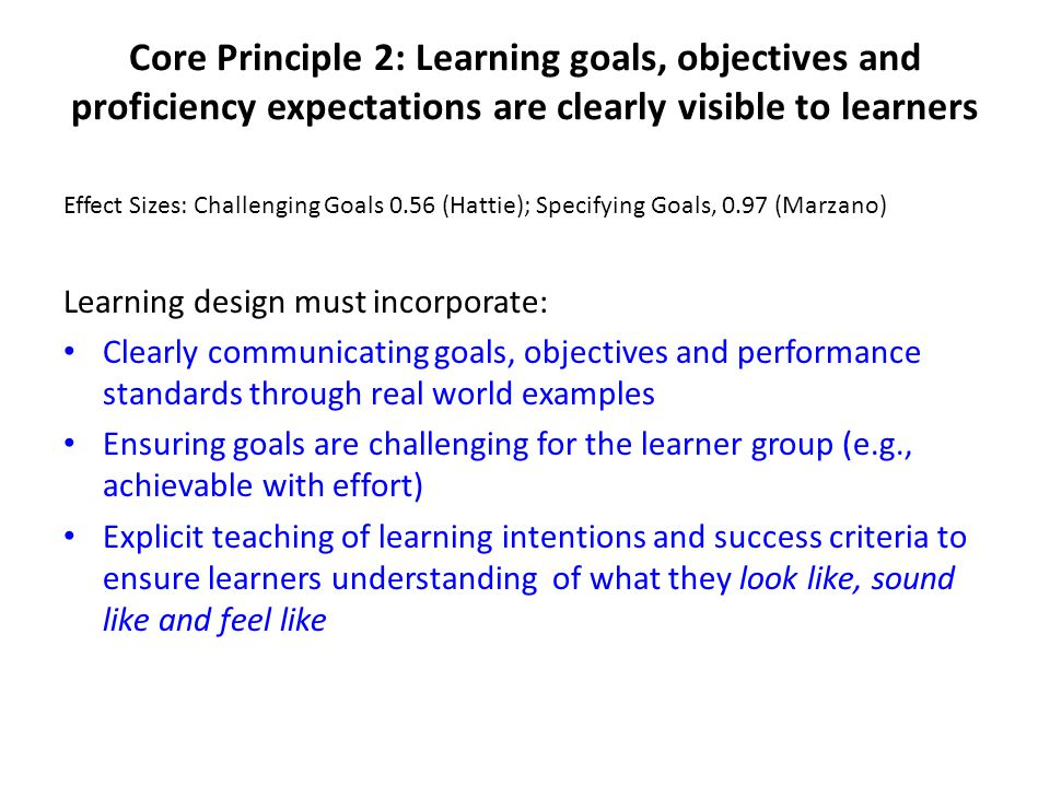 Core Principle 2: Learning goals, objectives and proficiency expectations are clearly visible to learners