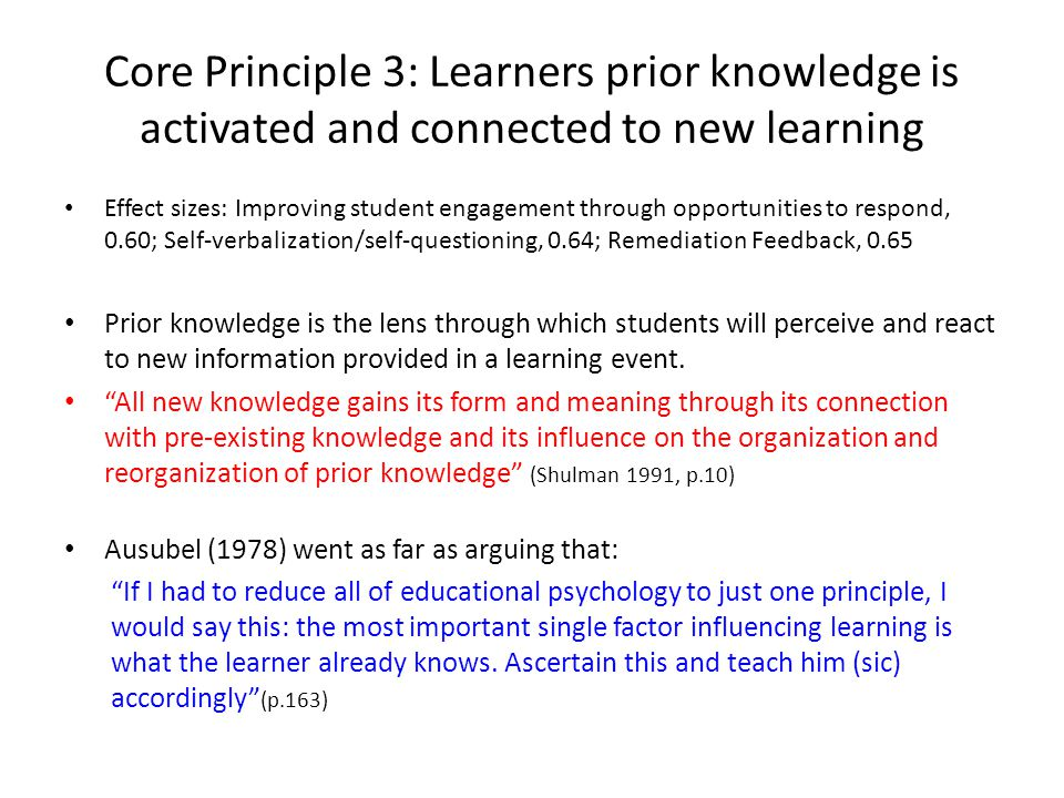 Core Principle 3: Learners prior knowledge is activated and connected to new learning