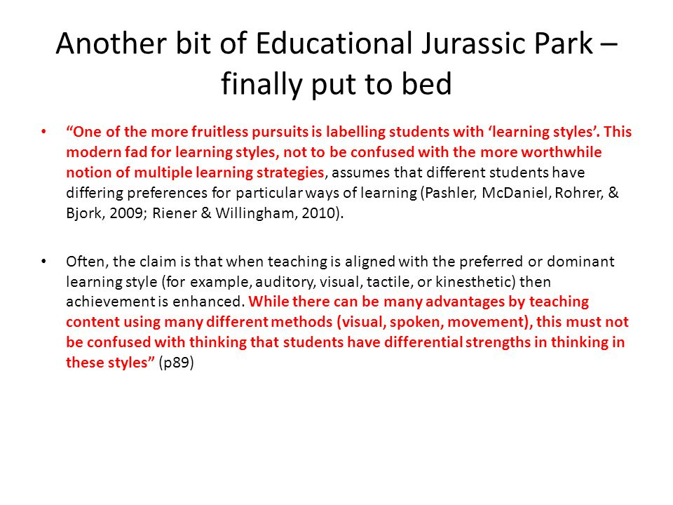 Another bit of Educational Jurassic Park – finally put to bed