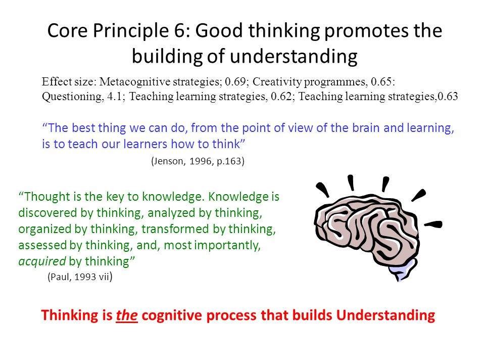Core Principle 6: Good thinking promotes the building of understanding