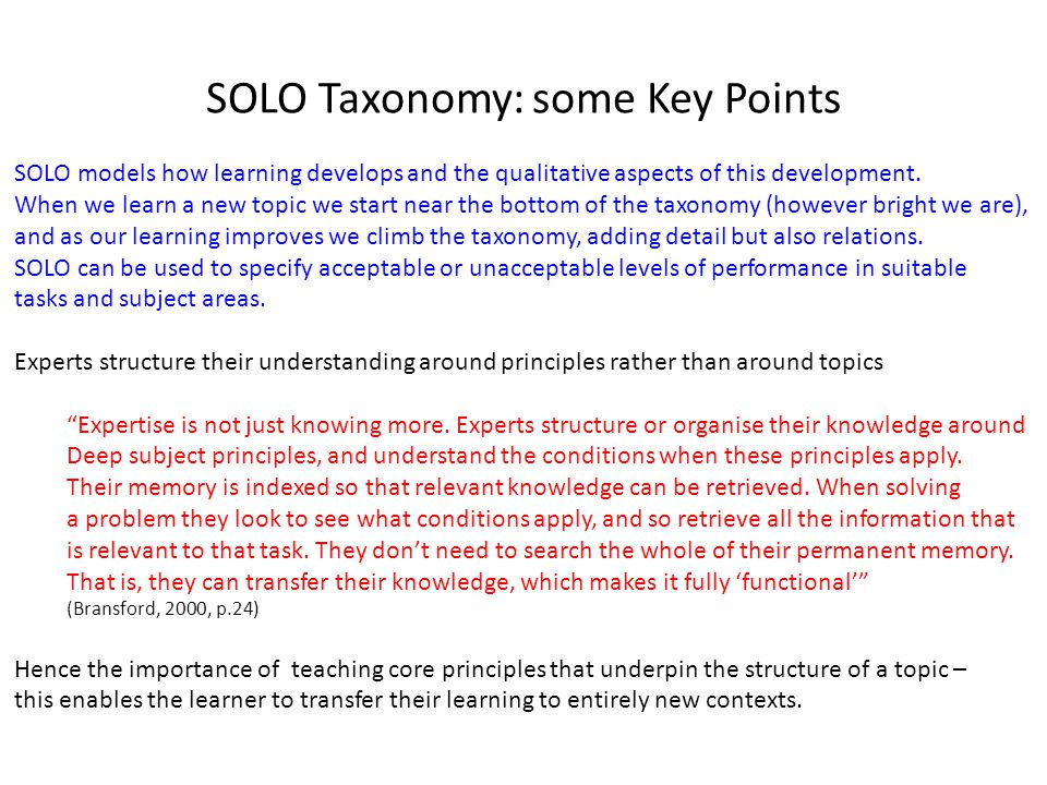 SOLO Taxonomy: some Key Points