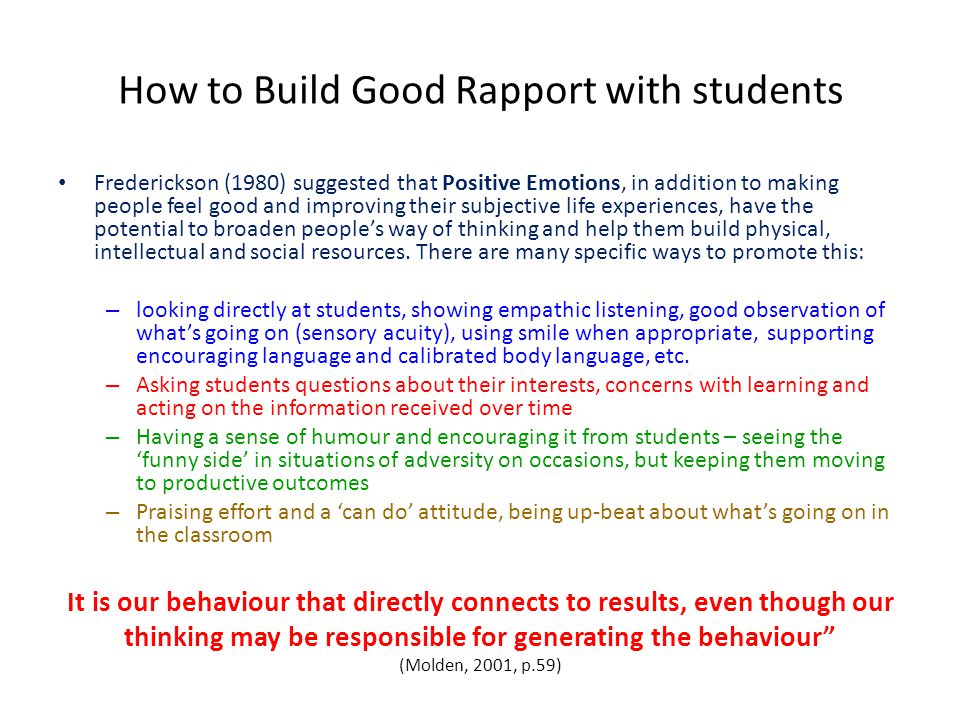 How to Build Good Rapport with students