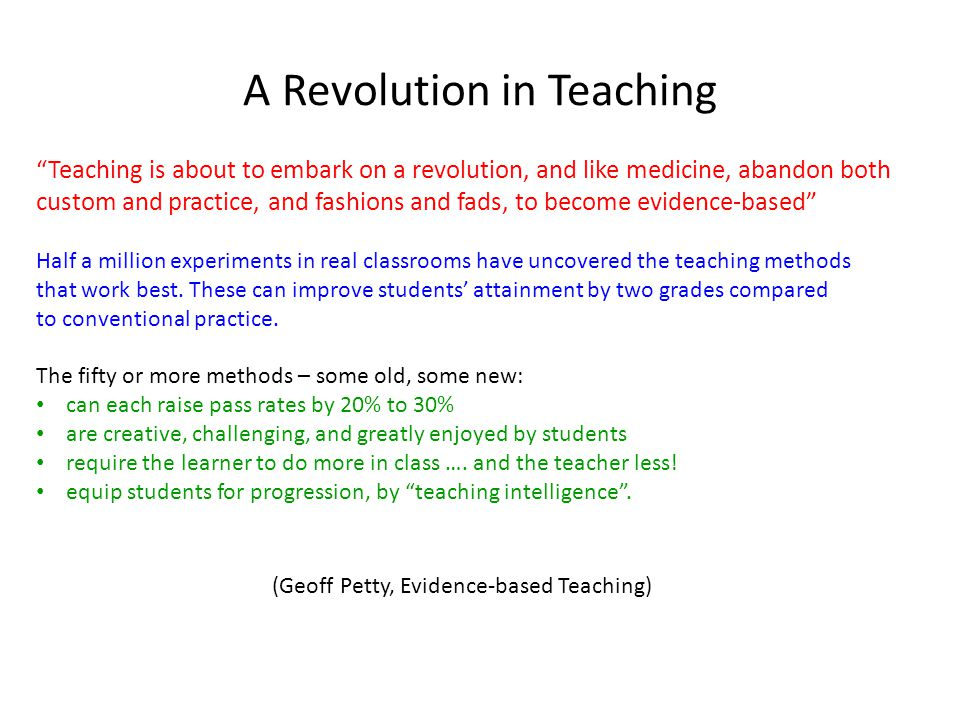 A Revolution in Teaching
