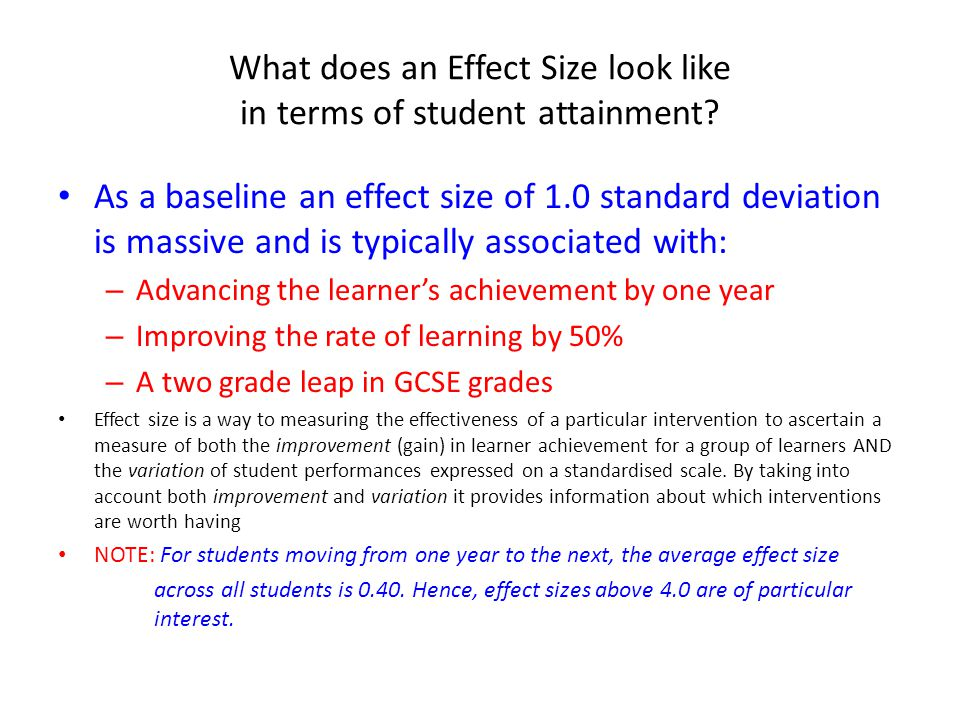 What does an Effect Size look like in terms of student attainment
