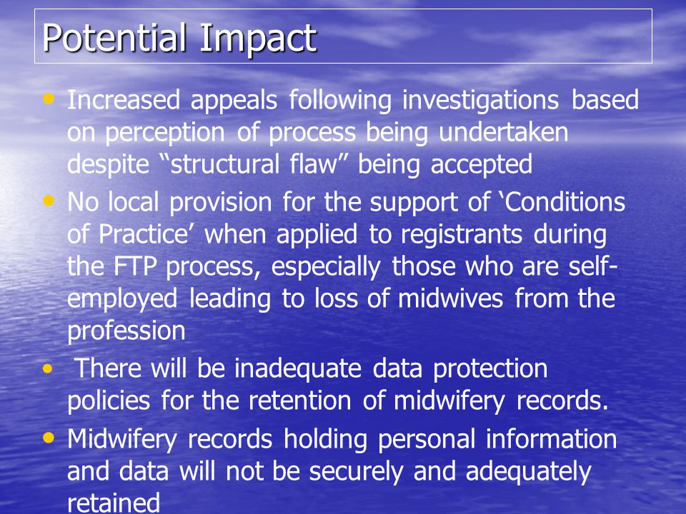 Potential Impact Increased appeals following investigations based on perception of process being undertaken despite structural flaw being accepted.