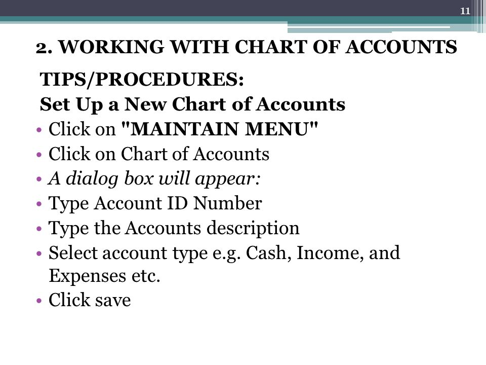 2. WORKING WITH CHART OF ACCOUNTS