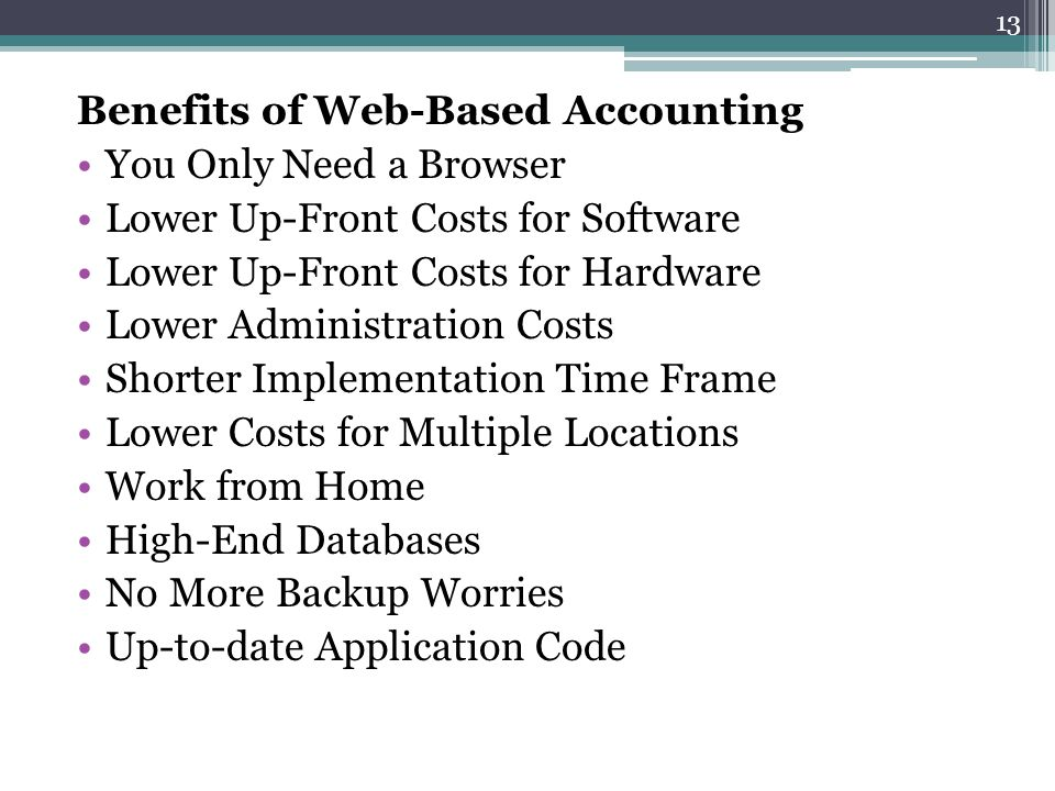 Benefits of Web-Based Accounting