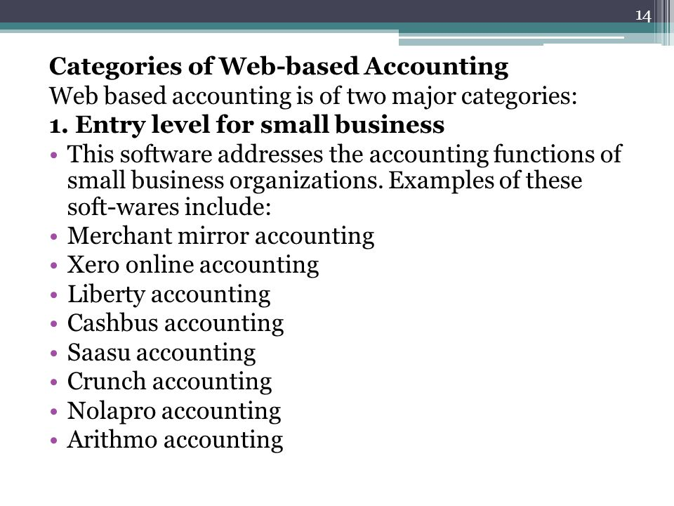 Categories of Web-based Accounting
