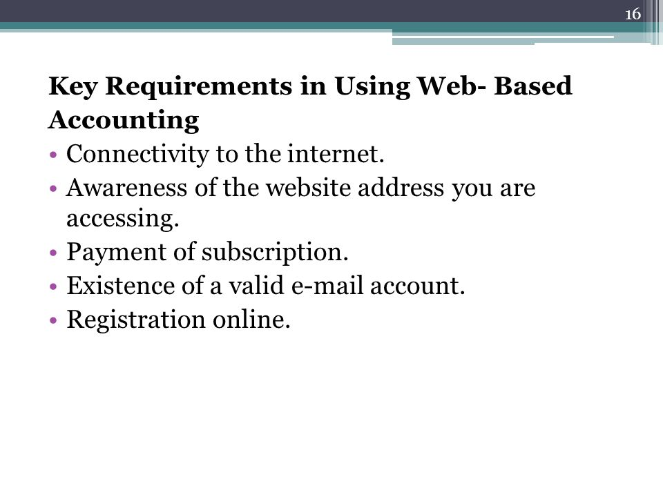 Key Requirements in Using Web- Based