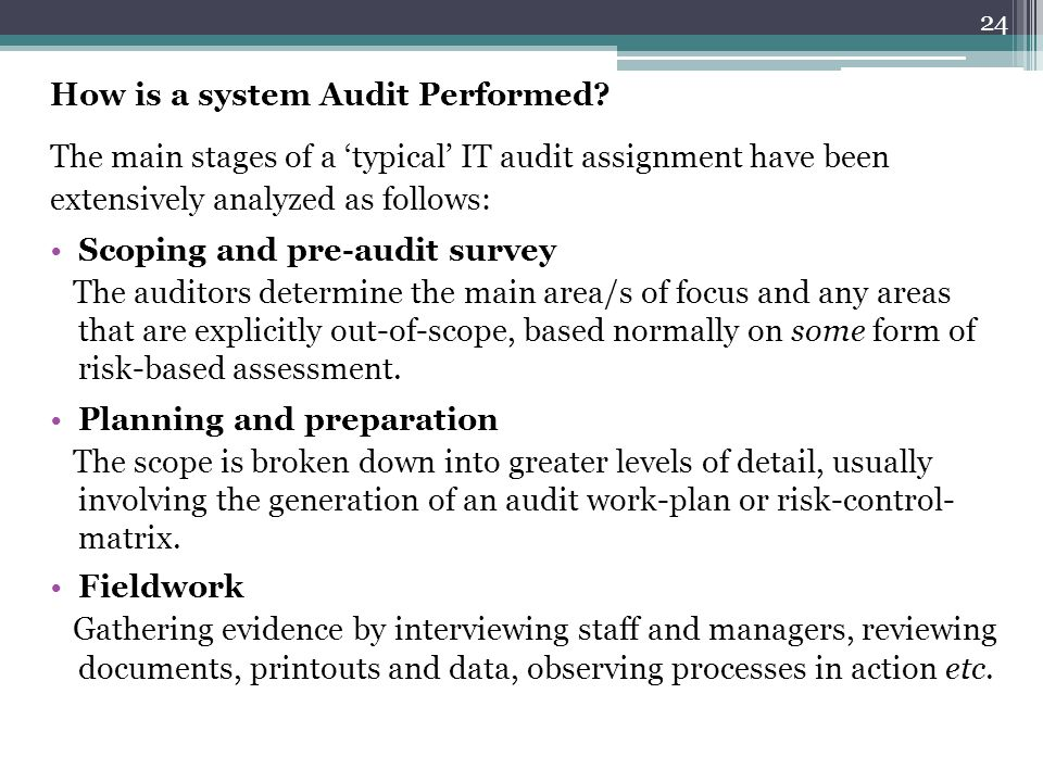 How is a system Audit Performed