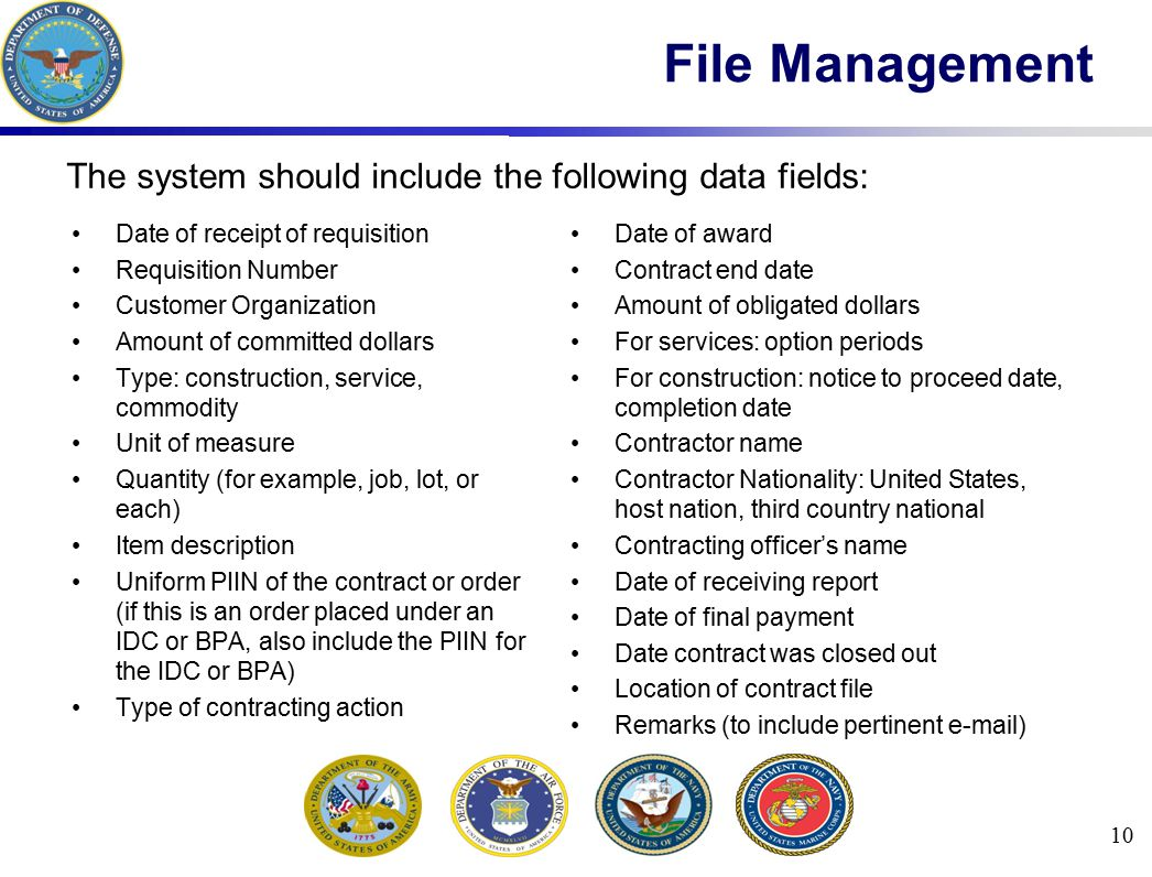 File Management The system should include the following data fields:
