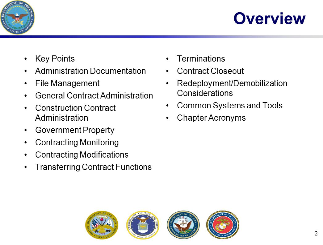 Overview Key Points Terminations Administration Documentation