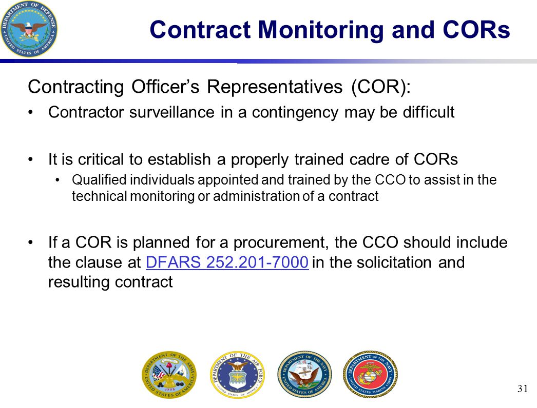 Contract Monitoring and CORs