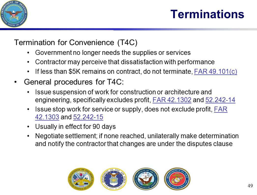 Terminations Termination for Convenience (T4C)