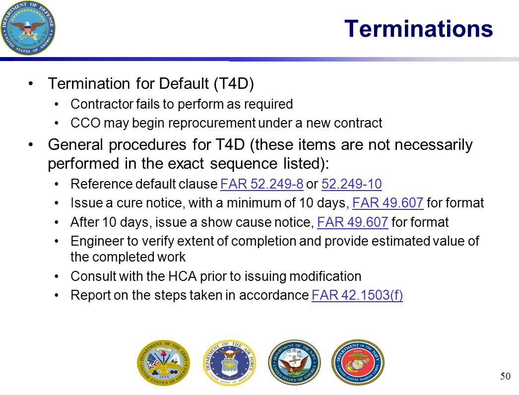 Terminations Termination for Default (T4D)