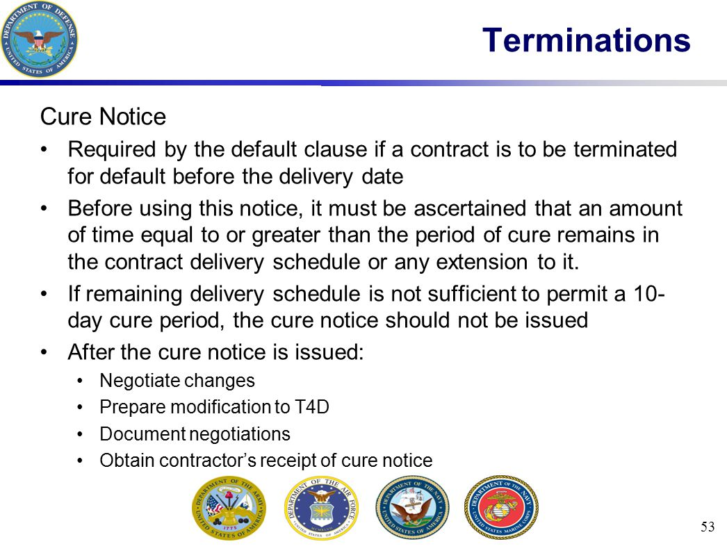 Terminations Cure Notice