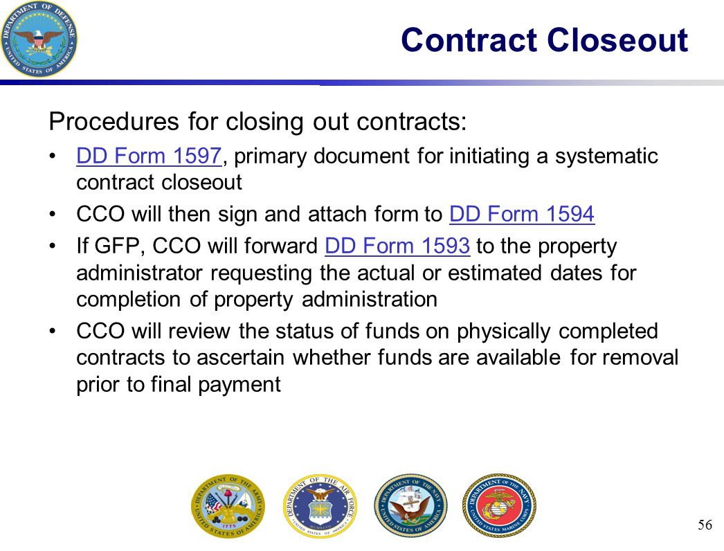 Contract Closeout Procedures for closing out contracts: