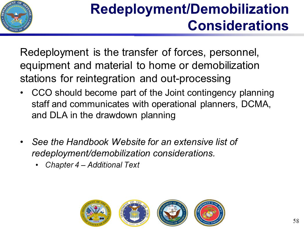 Redeployment/Demobilization Considerations