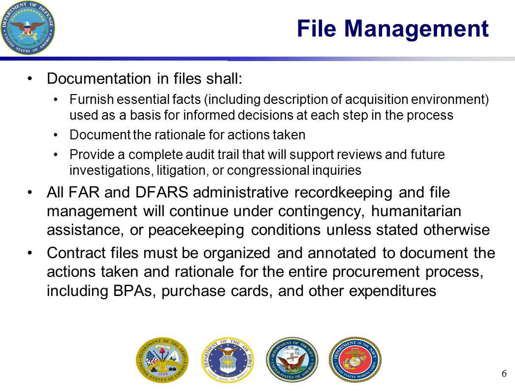 File Management Documentation in files shall: