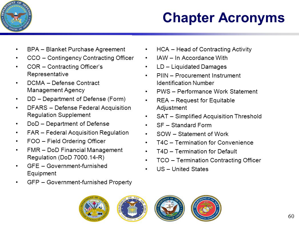 Chapter Acronyms BPA – Blanket Purchase Agreement