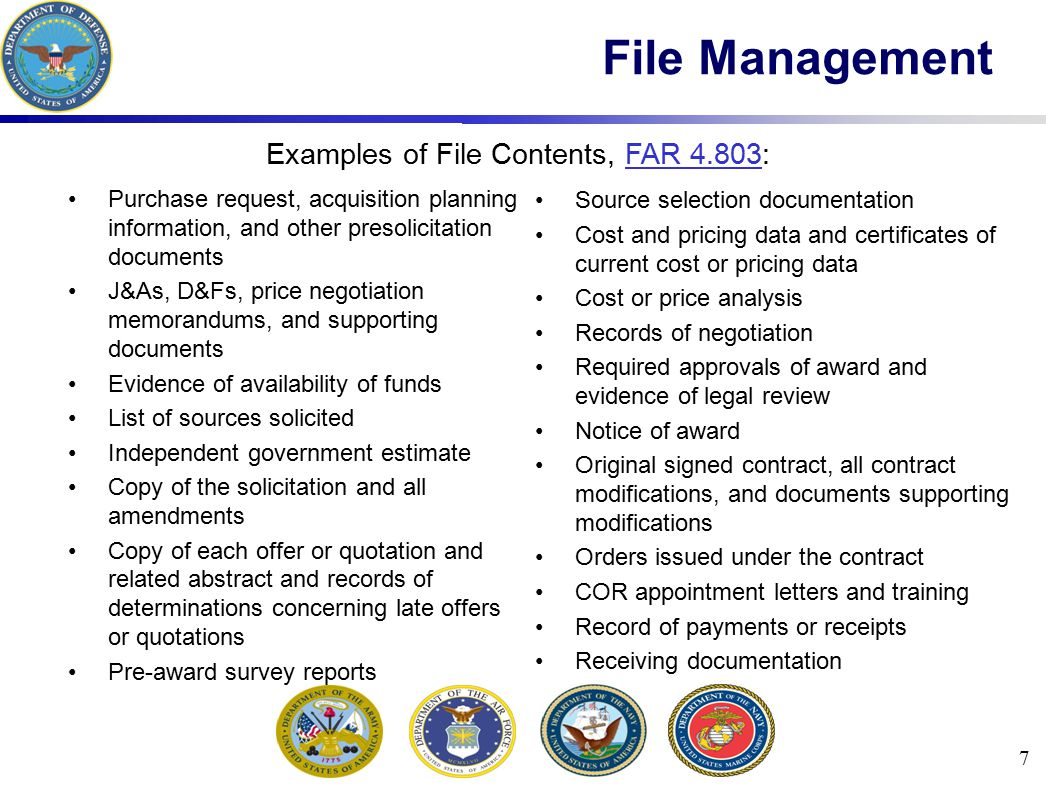 Examples of File Contents, FAR 4.803:
