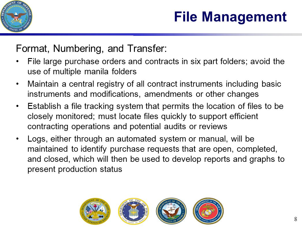 File Management Format, Numbering, and Transfer: