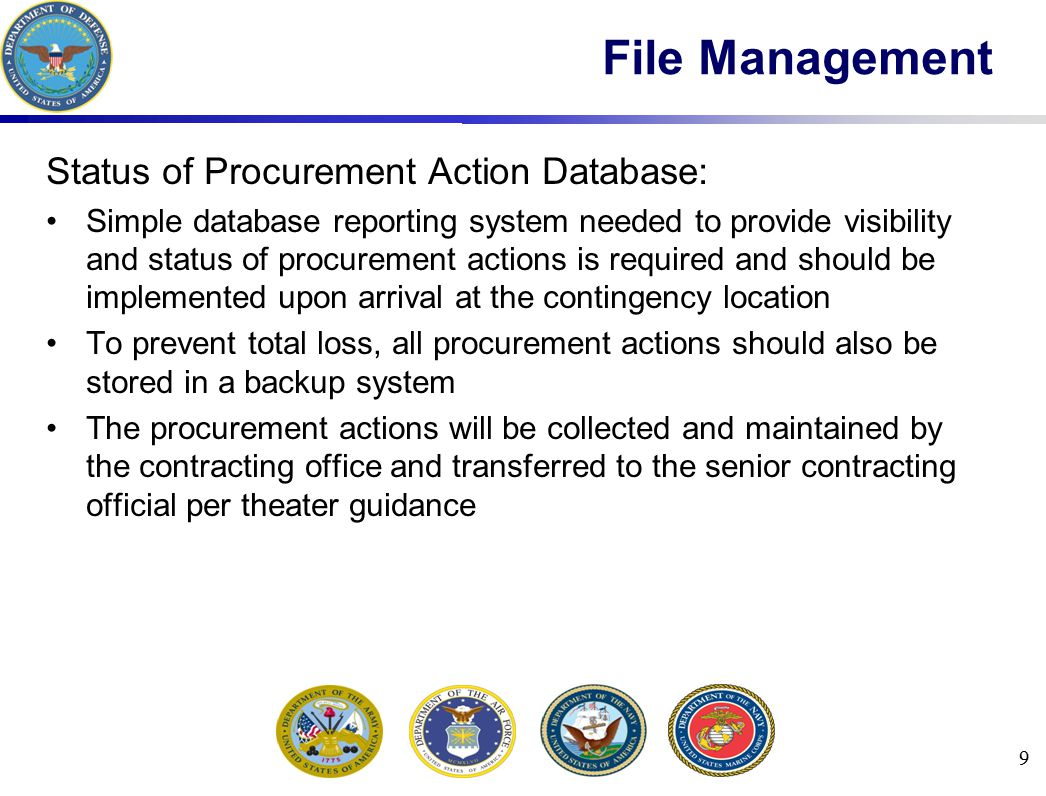 File Management Status of Procurement Action Database: