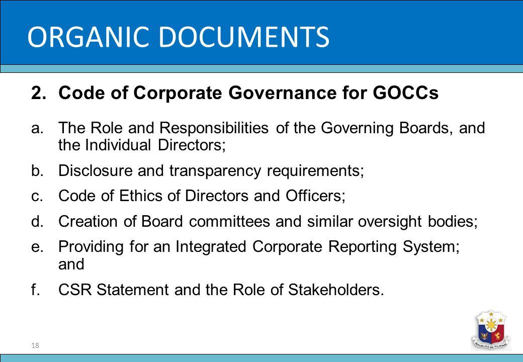 ORGANIC DOCUMENTS Slide Title Code of Corporate Governance for GOCCs