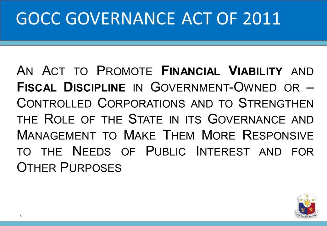 GOCC GOVERNANCE ACT OF 2011 Slide Title