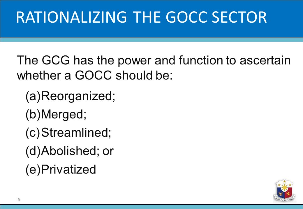 RATIONALIZING THE GOCC SECTOR