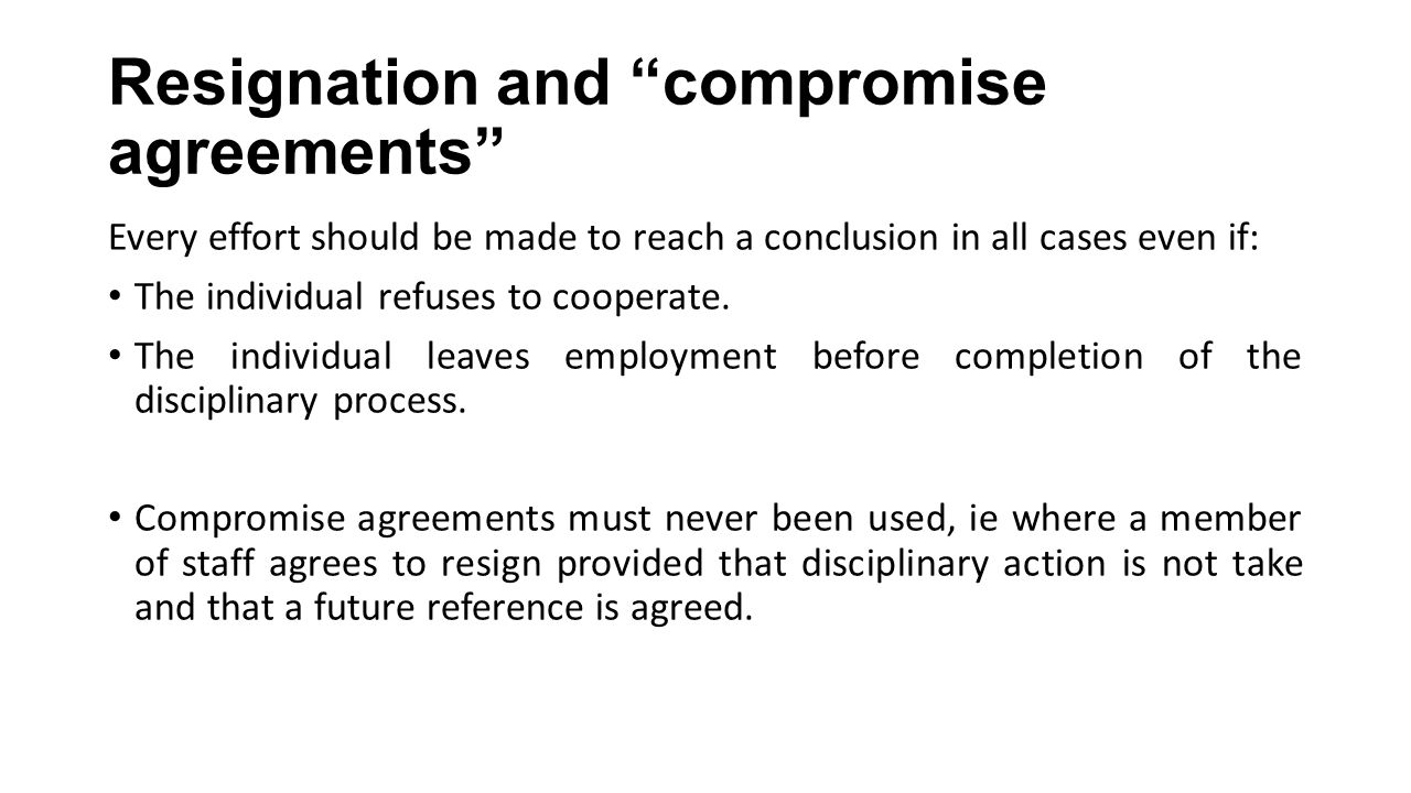 Resignation and compromise agreements